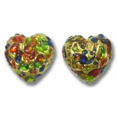 Pair Murano Glass Bejewelled 14mm Heart Beads