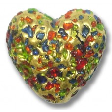1 Murano Glass Bejewelled Foiled 20mm Heart Bead