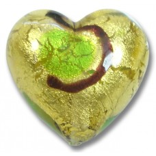 1 Murano Glass Gold Foiled Miro Emerald 20mm Heart Bead