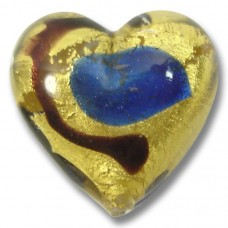 1 Murano Glass Gold Foiled Miro Sapphire 20mm Heart Bead