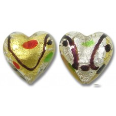 1 Murano Glass Harlequin 18mm Heart Bead