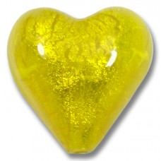 1 Murano Glass Ginger Spice Yellow Gold Foiled 20mm Heart