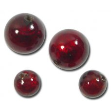 10 Murano Glass Dark Ruby Gold Foiled 10mm Round Beads