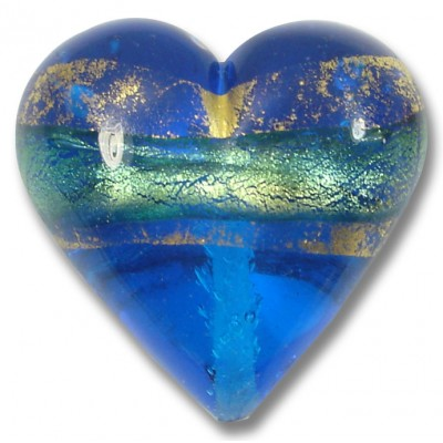 1 Murano Glass Turquoise Blue Goldfoil Band 30mm Heart