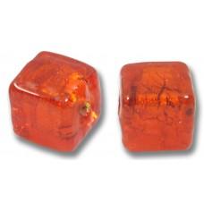 Pair Murano Glass Gold Foiled Arancio 8mm Cube Beads