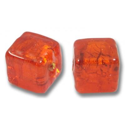 Pair Murano Glass Gold Foiled Arancio Cube Beads