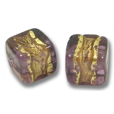 Pair Murano Glass Amethyst Goldfoil Band 8mm Cube Beads