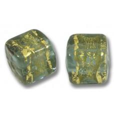 Pair Murano Glass Black Diamond Goldfoil Band Cube Beads