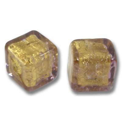 Pair Murano Glass Chocolate Amethyst Gold Foiled Cube Beads
