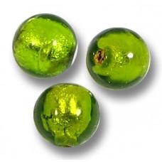 10 Murano Glass Medium Erba Gold Foil 6mm Round Beads