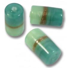 1 Murano Glass Mint Aquamarine Aventurine Cylinder Bead