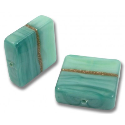 1 Murano Glass Mint Aquamarine Aventurine Spangle Bead