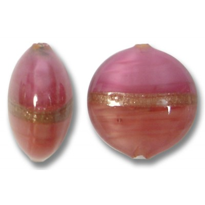 1 Murano Glass Rose Ruby Aventurine Satin 14mm Lentil