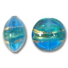 1 Murano Glass Turquoise Blue Gold Foiled Band 14mm Lentil