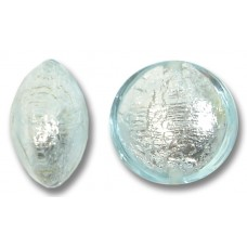 1 Murano Glass Aquamarine 14mm Silverfoil Lentil