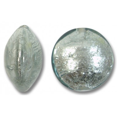 1 Murano Glass Black Diamond 14mm Silverfoil Lentil