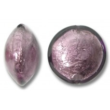 1 Murano Glass Amethyst White Goldfoil 14mm Lentil