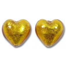 Pair Murano Glass Gold Foiled Topaz 14mm Heart Beads