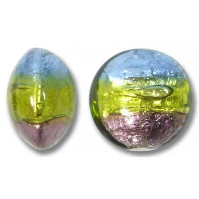 1 Murano Glass 14mm Sapphire Lime and Amethyst Tricolour Silver Foiled Lentil Bead