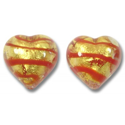 Pair Murano Glass Gold Red Foiled Spiralina 12mm Hearts