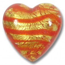 1 Murano Glass Gold Foiled Red Spiralina 20mm Heart