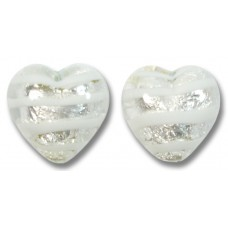 Pair Murano Glass Silver Foiled White Spiralina 12mm Heart Beads