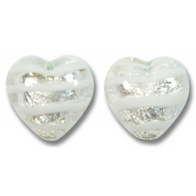 Pair Murano Glass Silver Foiled White Spiralina 12mm Heart Beads