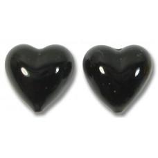 Pair Murano Glass Black 14mm Murano Glass Hearts