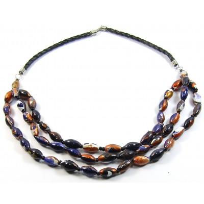 3 Strand Black Multi Wood Bead Necklace