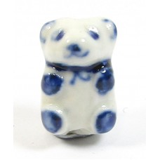 1White and Blue Porcelain Bear Bead