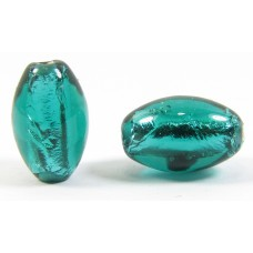 1 Czech Glass Silver Foiled Oval Bead Teal Green