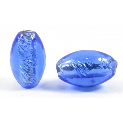 1 Czech Glass Silver Foiled Oval Bead Sapphire Blue