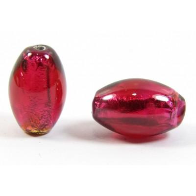 1 Czech Glass Silver Foiled Oval Bead Ruby