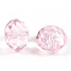 1 Crystal Light Rose 12mm Rondelle Bead