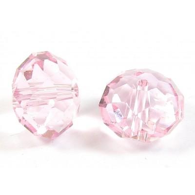 1 Crystal Light Rose 12mm Rondelle Bead