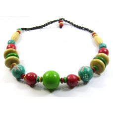 Bright Painted Wood Beads Necklace