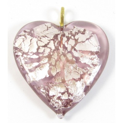 1 Silver Foiled Flat Light Amethyst Colour Glass Heart Pendant with Goldtone Hanging Loop