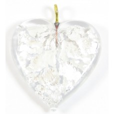 1 Silver Foiled Flat Crystal Clear Glass Heart Pendant with Goldtone Hanging Loop