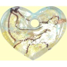 1 Silver-Foiled Fused Glass Heart Pendant for Thong