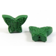 10 Green Resin Butterfly Beads