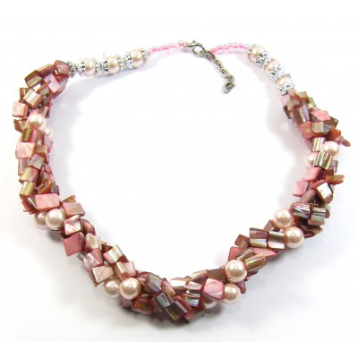 Pink Mother of Pearl Twist Necklace