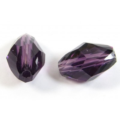 10 Crystal Dark Amethyst 8x11mm Faceted Beads