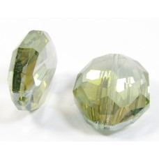 1 Crystal Chunky Oval Faceted Bead Sage Green Silver Special Coating