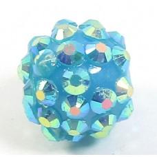 1 Plastic Shamballa Style Bead Teal Blue