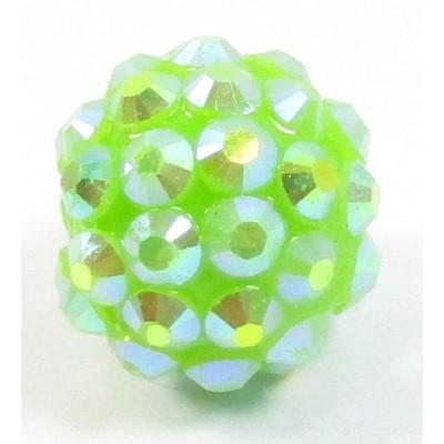 1 Plastic Shamballa Style Bead Mid Green