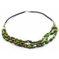 3 Strand Green Multi Wood Bead Necklace