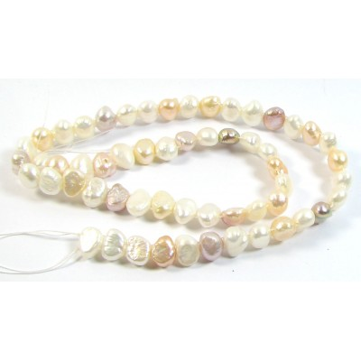 1 Strand Pale Shades Double Drilled Freshwater Pearls
