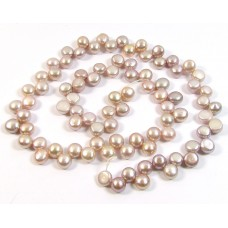1 Strand Soft Pink Top Drilled Button Shaped Freshwater Pearls