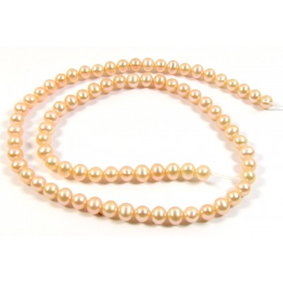 1 Strand Peach Roundish Freshwater Pearls