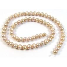 1 Strand Mauve-Pink Roundish Freshwater Pearls